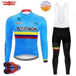 pantalones largos jersey mtb Rebajas 2018 Team Colombia ciclismo pantalones de jersey conjunto de ropa de bicicleta larga Ropa Ciclismo MTB invierno polar ropa de bicicleta desgaste de la bici
