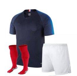 Wholesale France Soccer Kit - 2018 World Cup France ADULT POGBA soccer jerseys 18 19 POGBA PAYET Griezmann Mbappé football jersey kits shirts maillot De foot