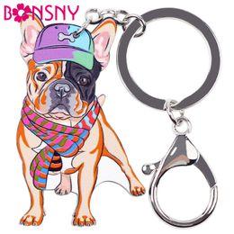 Wholesale White Gold Ring Amethyst - Bonsny Acrylic Dog Jewelry French Bulldog Key Chain Key Ring Pom Gift For Women Girl Bag Charm Keychain Pendant Jewelry