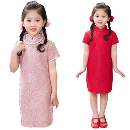 Wholesale Traditional Chinese Clothes Red - 2018 Flower Baby Girls Dress Tribute Silk Kid Hollow Traditional Qipao Children Cheongsam Girl Dresses Clothes Vestidos Red Pink Outfits