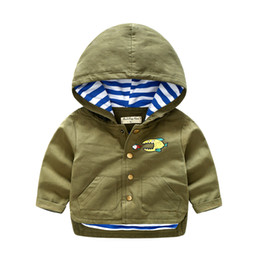 Wholesale cool boys jackets - Wipalo Boy Hooded Jacket and Outerwear Cartoon print ArmyGreen Cool boys Casual Coat Windbreaker Button Children boy clothes
