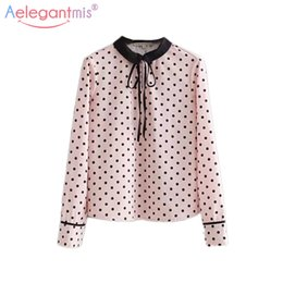 Aelegantmis Sweet Polka Dot Chiffon Shirt Women Cute Bow Peter pan Collar  Blouses Female Spring Long Sleeve Shirt Pink Tops Y1891302 daf976ec3