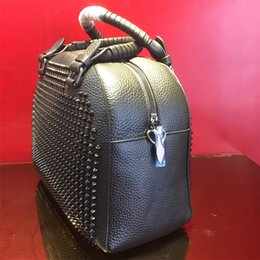 Wholesale France Business - Black women ladies Bag Brand France style Fashion Famous Style Grad for party Handbag Genuine cow Leather with rivets Square portable Bag