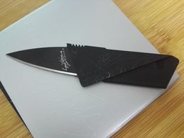 Wholesale Stainless Steel Cards - cheap card knife folding fruit knife black mini knife