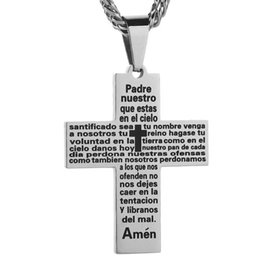 6f08c3bdd056 Gran cruz pesada con el verso de la biblia de plata   color negro acero  inoxidable 316L cadena de la joyería cristiana cruz colgante de collar de  los ...