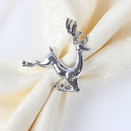 Wholesale Hotel Christmas Party Table Decoration - 20pcs lot Christmas deer napkin rings Silver Alloy napkin buckle buckle hotel wedding party table decoration