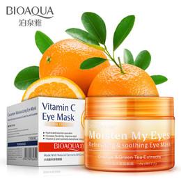 Masque pour les yeux raffermissant en Ligne-2018 Bioaqua Hydratant couleur orange masque pour les yeux colle à des sacs pour les yeux hydratant durable hydratant raffermissant peau cache-oeil