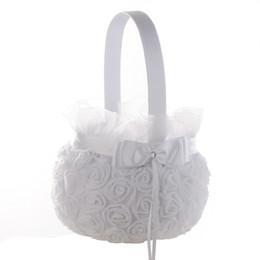 Wholesale Satin Flower Girl Baskets - White Rose Flower Girl Basket Elegant Satin Bow knot Round Flower Basket Wedding Favors Wedding Decoration New