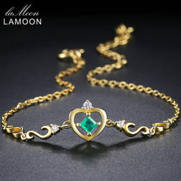 Argentina LAMOON Charm Bracelet para mujer Crow Princess Cut 0.2ct 100% Real Green Emerald 14K Gold Gold Plated Fine Jewelry LMHI052Y1882701 cheap 14k gold charms for bracelets Suministro
