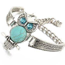 Wholesale owl moon charm - Women Bohemian Retro Vintage Tibet Silver Bracelet Owl Fatima Elephant Moon Charm Bracelets Bangles Boho Jewelry B151