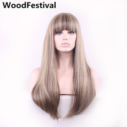 Wholesale womens bangs - WoodFestival womens synthetic wigs with bangs heat resistant blonde mix color long straight hair wig