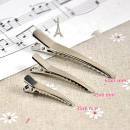 Wholesale Metal Alligator Clips For Hair - 50pcs 35mm 45mm 60mm Alligator Hair Clips Headwear Barrette Metal Clips Girls Hairpin for DIY Hair Accessories