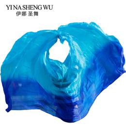 Pañuelo de seda del velo de la danza del vientre Pañuelo del mantón Color degradado Azul real + Turquesa Danza del vientre Práctica Velos de seda 250/270 * 114 cm desde fabricantes