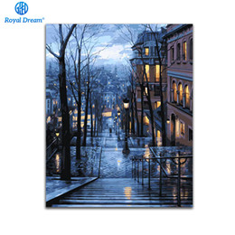 Wholesale City Single - City Night DIY Oil Painting By Numbers Canvas Paint By Number Kits Home Wall Art Picture Coloring Numbers For Home Decor