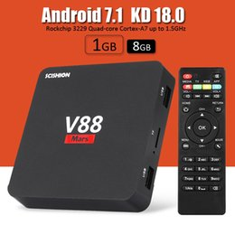 Wholesale 4k Player - Hot V88 Rockchip Quad Core Android 7.1 TV Boxes With Multifunction Customized KD 18.0 Fully Loaded 4K Smart TV Streaming Player