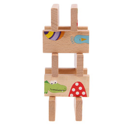 Wholesale animal dominoes - 28pcs set Montessori Educational Baby Toys Funny Games Cartoon Animal Printed Puzzle Colored Dominoes Wooden Toy For Birthday