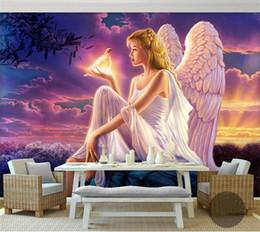 Murais de anjo on-line-Papel de parede mural enorme HD sonho mundo paz pomba anjo da guarda do sol por do sol fundo para sofá tv papel de parede murais