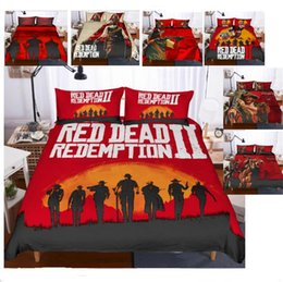 3d quilts covers king size Coupons - 3D Red Dead Redemption 2 Design Bedding Set 2PC 3PC Duvet Cover Set Of Quilt Cover Pillowcase Twin Full Queen King Size US Adult Kids