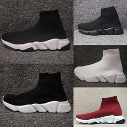 Wholesale white leather boots for women - High Quality Original 2018 Speed Trainer running shoes Speed stretch-knit Mid sneakers for men and women Top Boots Casual shoe Eur 36-45