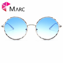 red eyeglasses 2018 - MARC UV400 WOMEN MEN sunglasses oculos Fashion Gradient Brand Design Alloy Metal Round Sliver Gray Resin eyeglass Mirror Clear