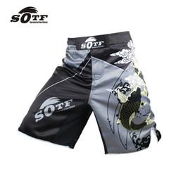 Cajas de liquidación online-Sotf Men 'S Carp Chinese Wind Fitness Pantalones de ángulo respirable deportivo Tiger Muay Thai Shorts de boxeo Boxeo tailandés barato Mma Boxeo