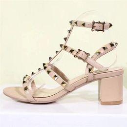 Wholesale nude open back dress - 2018 Women V studs Brand Sandals Chunky Heel Comfort Sandals Women Shoes Genuine Leather Rivet Dress Shoes Summer Plus Size 35-42 S833