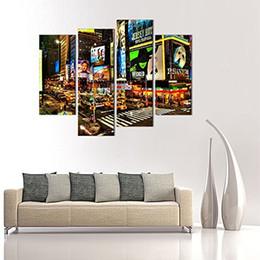 marco de fotos digital cuadrado Rebajas 4 Piezas Pinturas sobre lienzo New York Times Cuadros Cuadros de la pintura sobre lienzo Ciudad Escena nocturna Arte de pared para la decoración casera con marco de madera