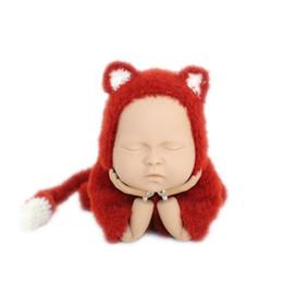 Cappello di volpe appena nato online-Newborn Fox Outfit Newborn Fox Hat Knit Chunk Baby Fotografia Pagliaccetto Fluffy Bonnet Baby Onesie Boys Clothes Tuta