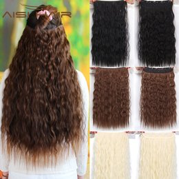 Canada 22 pouce 5 Clips en Extension de Cheveux Synthétique Longue Bouclés Cheveux de Vague pour les Femmes Noir Blonde Couleur cheap extension inches Offre