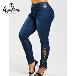 d51f177c4a3 AZULINA Plus Size Zipper Fly Side Lace Up Jeans Skinny High Waist Pockets Denim  Pant Women Jeans Trousers Big Size 5XL Clothing