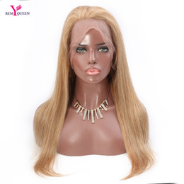 Wholesale european remy wigs - Remy Queen 27# Strawberry Blonde Straight Full Lace Wig 100% Human Hair 130% Medium Density Nautral Hairline With Baby Hair Bleached Knots