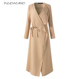 Wholesale Women Winter Work Coats - New Women Autumn Winter Long Belted Trench Coat Fashion Plus Size Long Sleeve Casual Office Work Wrapped Windbreaker Coats 5XL