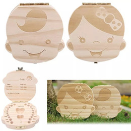 Wholesale girls wooden toys - 2018 Kids Boy Girl Tooth Box baby Teeth boxes organizer baby children Save Milk teeth Collection box Wood Storage new year gifts