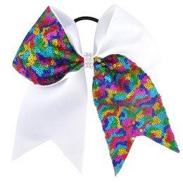 Wholesale Blue Cheer Bows - 7 inch 26 pcs lot Rhinestone Cheer Bow Rainbow Sequin Ribbon Children Girls Cheerleading Elastic Hair Band  alligator Clip