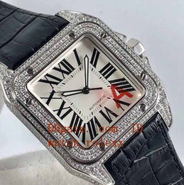 Wholesale nickel cases - Mens Classic HBBV6 Factory Nickel-plated ETA2824 Diamond-paved solid 316L stainless steel case Black leather strap Automatic watches