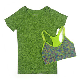 Wholesale workout shirts for women - Women Quick Dry Yoga 2pcs Set for Gym Running Short Sleeve Sports Top T-shirt+Bra Set Professional Workout Fitness top