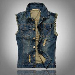 Оптовая торговля-2016 горячие продажи разорвал джинсовая куртка мужская джинсовый жилет плюс размер M-6XL джинсы жилет мужчины Ковбой бренд без рукавов куртка мужской от