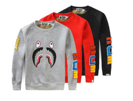Wholesale Mouth Coat - hot sell Tide brand AAPE kanye hip hop shark mouth embroidery stitching couples round neck long-sleeved sweater casual fashion coat yeezus