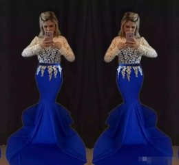 Wholesale Sexy Girls Western - 2017 sexy elegant long lace evening gowns royal blue black girl western country woman dress long sleeves prom formal dresses mermaid