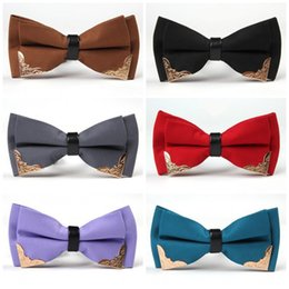 Wholesale Mens Silk Bow Ties - Mens Multi Color Bowtie Adjustable Solid Western Style Bow Tie With Metal Tips For Wedding Party Business Bowknot 7sj Z