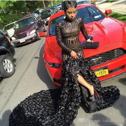 Wholesale Grils Shorts - 2018 Black Grils Prom Dresses Mermaid African Long Sleeve Formal Evening Party Gowns wear high neck africa sequined 3D flowers party dresses