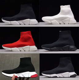 Wholesale Womens Black Cotton Socks - New Luxury Sock Shoes Speed Trainer Womens Mens Running Shoes Trainers Race Triple Black White Sports Shoes City Socks Sneakers