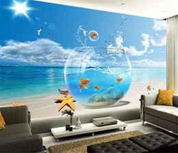 Wholesale Vintage Televisions - Free Shipping 3D Sea view wallpaper living room sofa bedroom television bar background fish aquarium wallpaper mural