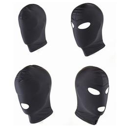 2019 máscaras sexuais para adultos Chegada nova Adulto jogos Fetish Hood Mask BDSM Escravidão Preto Spandex Mask Sex Toys Para Casais 4 Especificações Para Escolher desconto máscaras sexuais para adultos