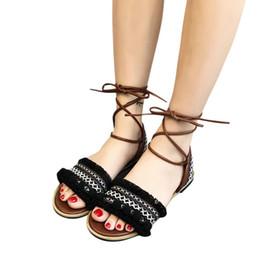 bcd5f4009b5fa wholesale Cotton Roman sandals women Bohemian Wind Cross Strap Beach Sandals  Casual ladies Flat shoes woman zapatos mujer 4M