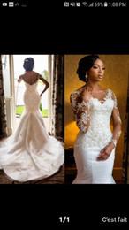 Wholesale fishtail sequin dress - 2018 Modest Sheer Long Sleeves Mermaid Wedding Dresses Lace Appliques Beading Slim Fishtail Bridal Gowns Custom Vestidos