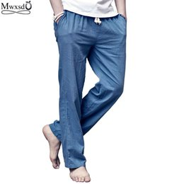 Wholesale Thin Linen Pants - 2017 new brand high quality summer linen mens loose breathing pants Casual thin straight trouser pants for men