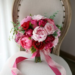 Wholesale Cheap Red Bridal Bouquets - Charming Pink Peony Bridal Bouquets Holding Brooch Flowers 2018 Red Rose Cheap Country Wedding Decoration Artificial Silk Bridesmaid Flowers