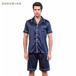 Wholesale Couples Onesies - Men Pajamas Faux Silk Satin Shorts Sleepwear Solid V-neck Casual Homewear High Quality Couples Summer Soft Pajamas Sets
