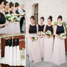 Vestidos de casamento da cor da mistura on-line-Cor misturada 2018 dama de honra vestidos Beading Chiffon até o chão longo da dama de honra mais novo vestido de festa de casamento Chiffon Flowy Guest Dresses